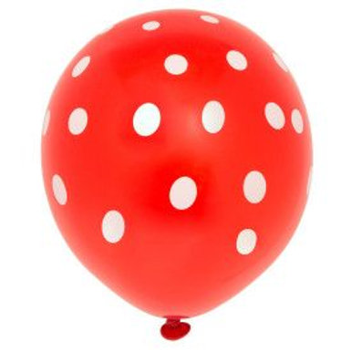 "Balloon Latex 12"" Dots Red 6C"