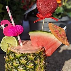 Pink Virgin Piña Colada in a Pineapple
