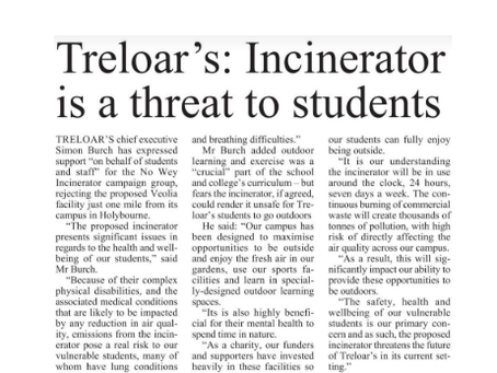 Treloar's: Incinerator is a threat to students