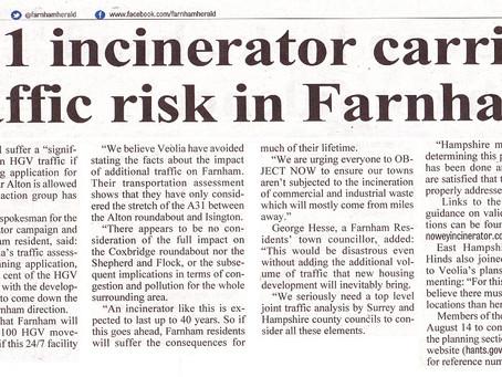 A31 incinerator carries traffic risk for Farnham