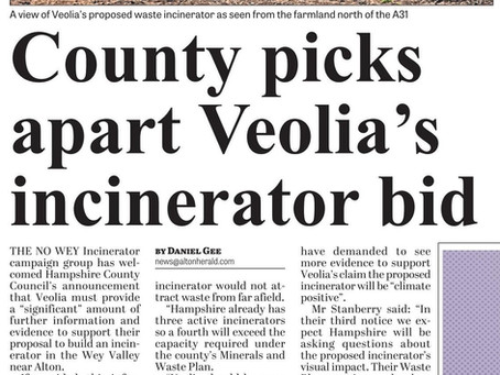 """No Wey Incinerator welcomes HCC's """"probing questions"""" about Veolia plans"""