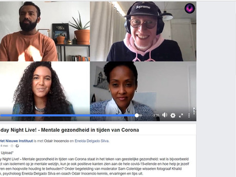 An online screengrab from the Virtual Panel I moderated for Het Nieuwe Instituut about the ins and outs of our Mental Health and state during these times of Corona and lockdown