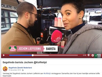 One of many Live Reports as a live on screen reporter for daily morning show RTL Koffietijd. In this specific item Jochem, a Barista is making me a chilly macchiato
