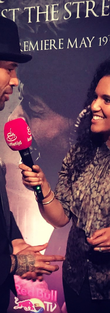 Interviewing Mr Probz on the red Carpet at the release of the docu film shot about part of his journey and life   editor, TV Reporter - RTL Koffietijd