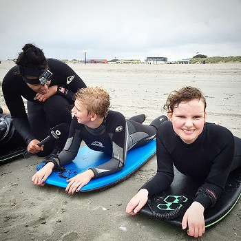 During the taping of a special item on the beach, being part of a surfcourse for kids with special needs  TV Host, TV Reporter - OPEN Rotterdam
