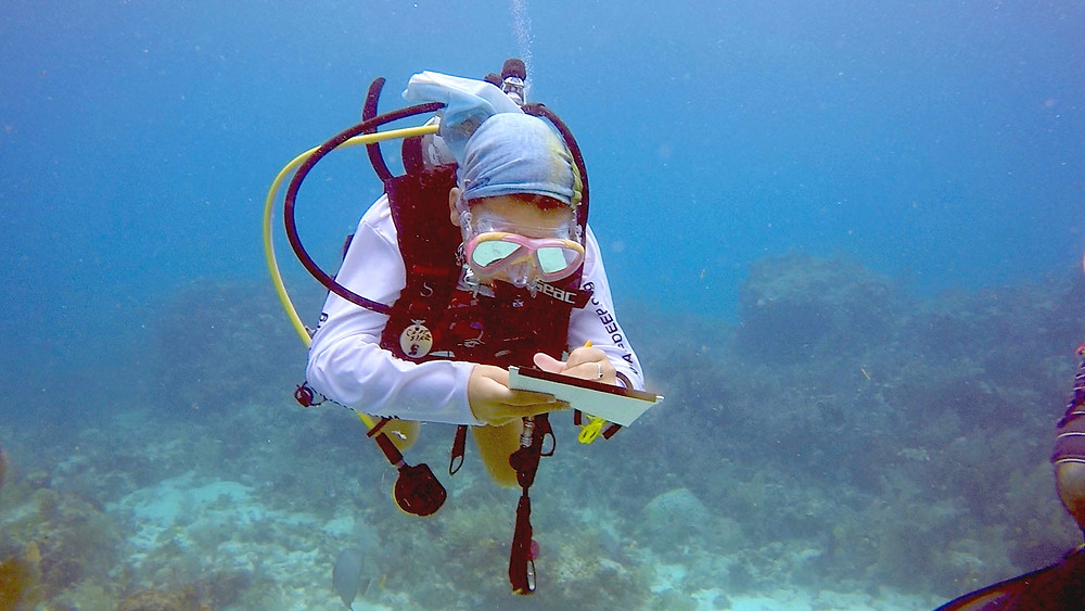"""Jade, 10, Student: """"This weekend was awesome, I got to plant coral on Pickle Reef on Saturday and see some coral planted in the past thriving on Davis Reef on Sunday."""""""