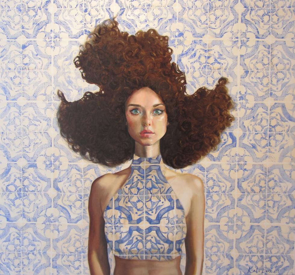 """Ali II"" oil on canvas and diamonds 100 x 100cm 2016"