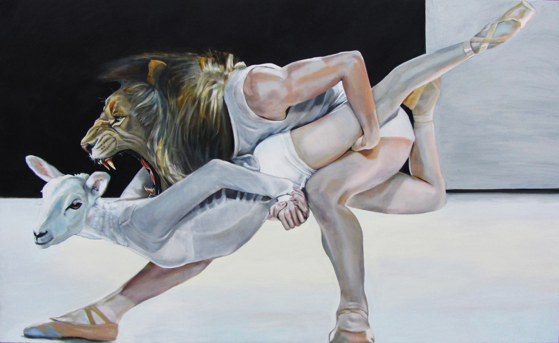 """""""Lion and Lamb"""" oil on canvas 250 x 150 cm 2013"""