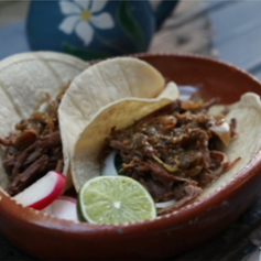 PULLED BEEF TACOS WITH TOMATILLOS