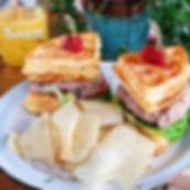 Tuna Salad on Cheesebread Waffles..._._.
