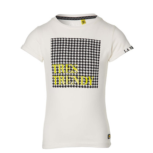 Quapi Fay T-shirt White Pied de Poule