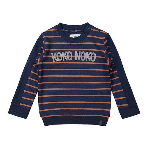 Koko Noko Sweater Camel Navy Stripes
