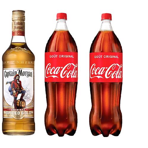 1 Captain Morgan 70cl + 2 Cocas 1.25l