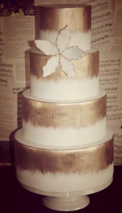 Simple Gold Wedding Cake
