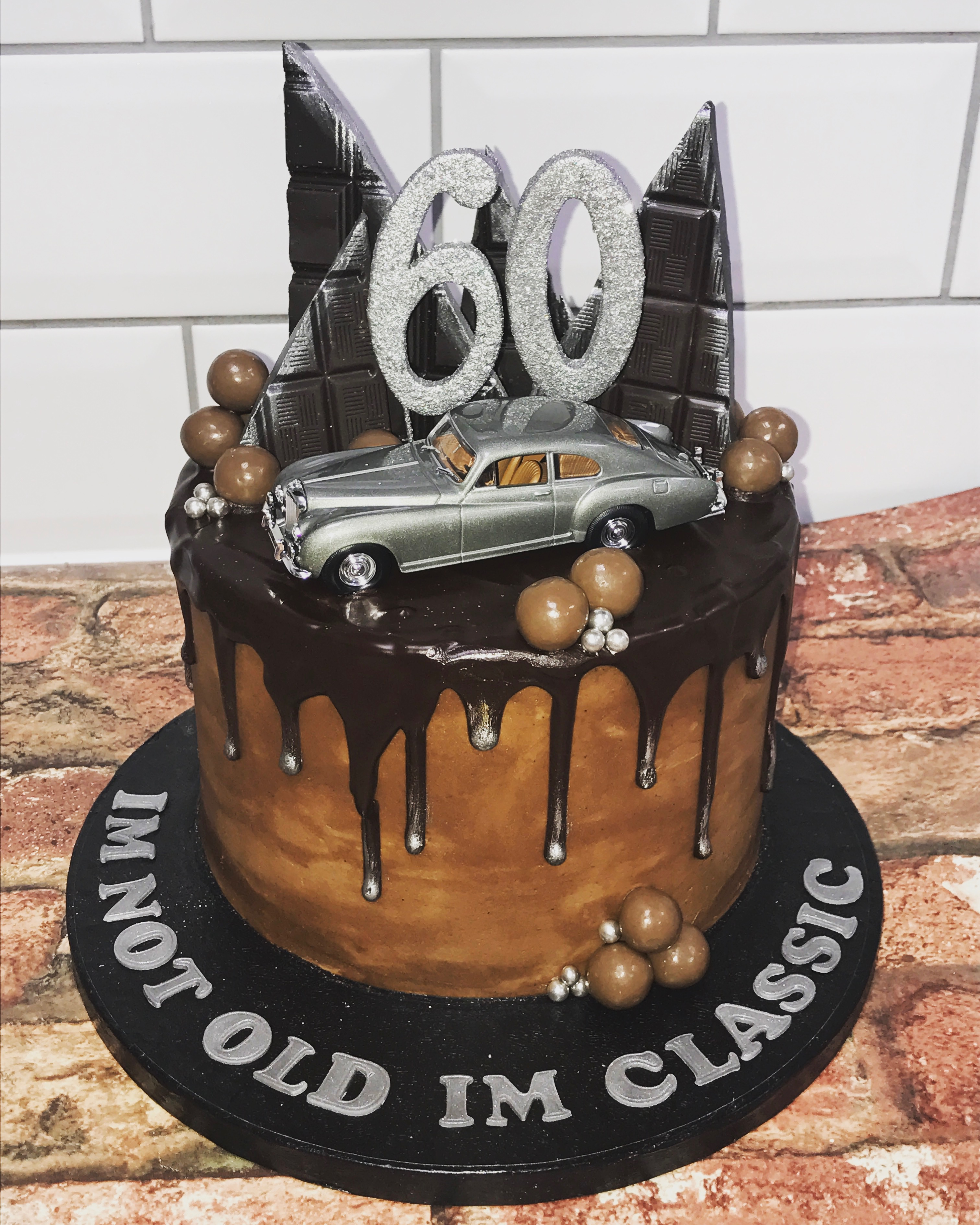 60th Classic Car Chocolate Drip Cake