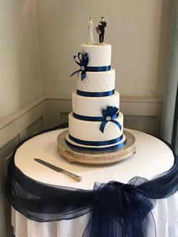 White and Navy 4 Tier Wedding Cake3