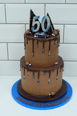 Two Tier Chocolate Drip Cake with Car an