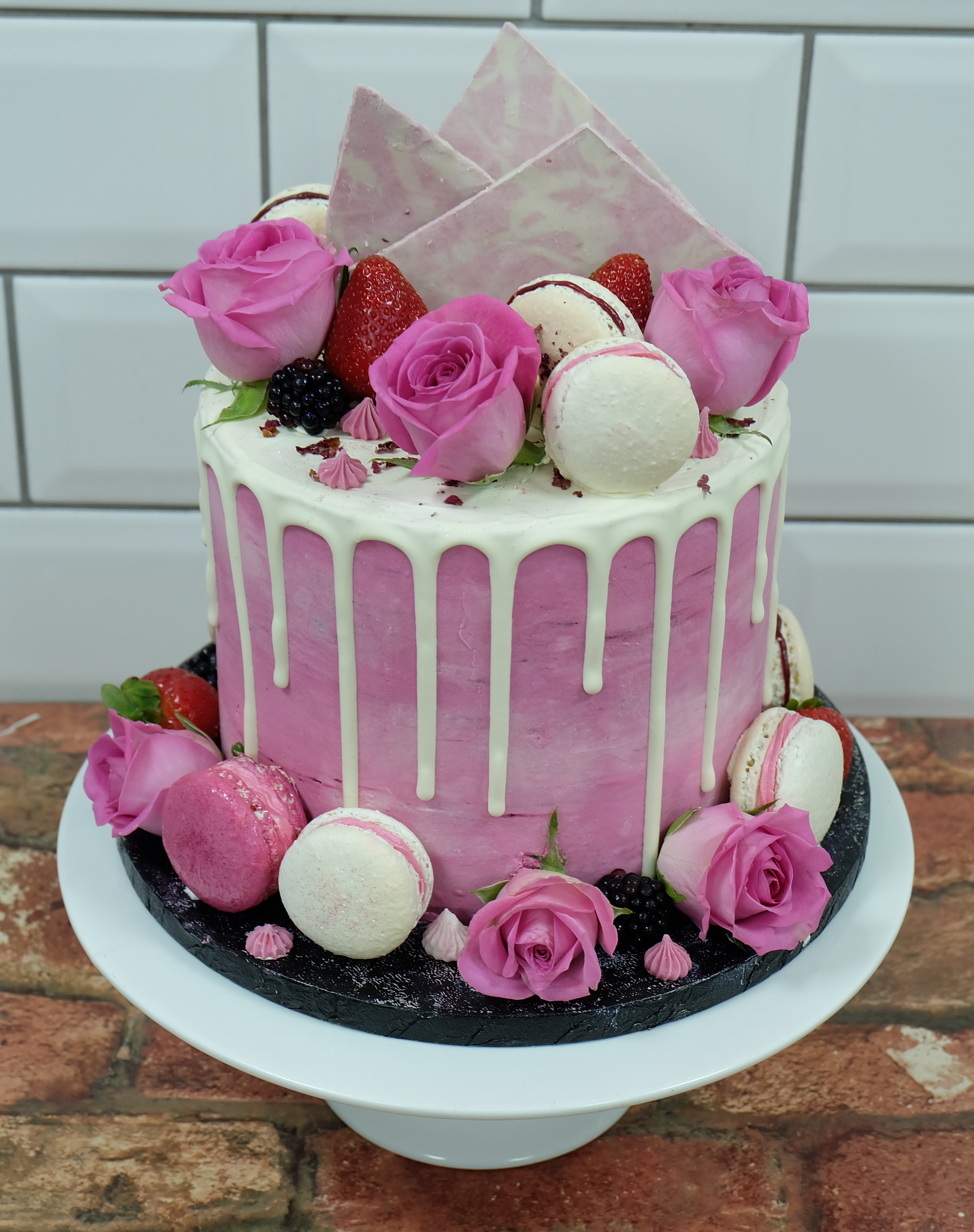 Pink Buttercream White Drip Cakes with Roses Macarons  Choc Shards and Fruits 2