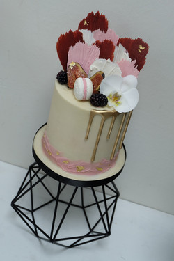 Modern Drip Cake with Brushed Chocolate,