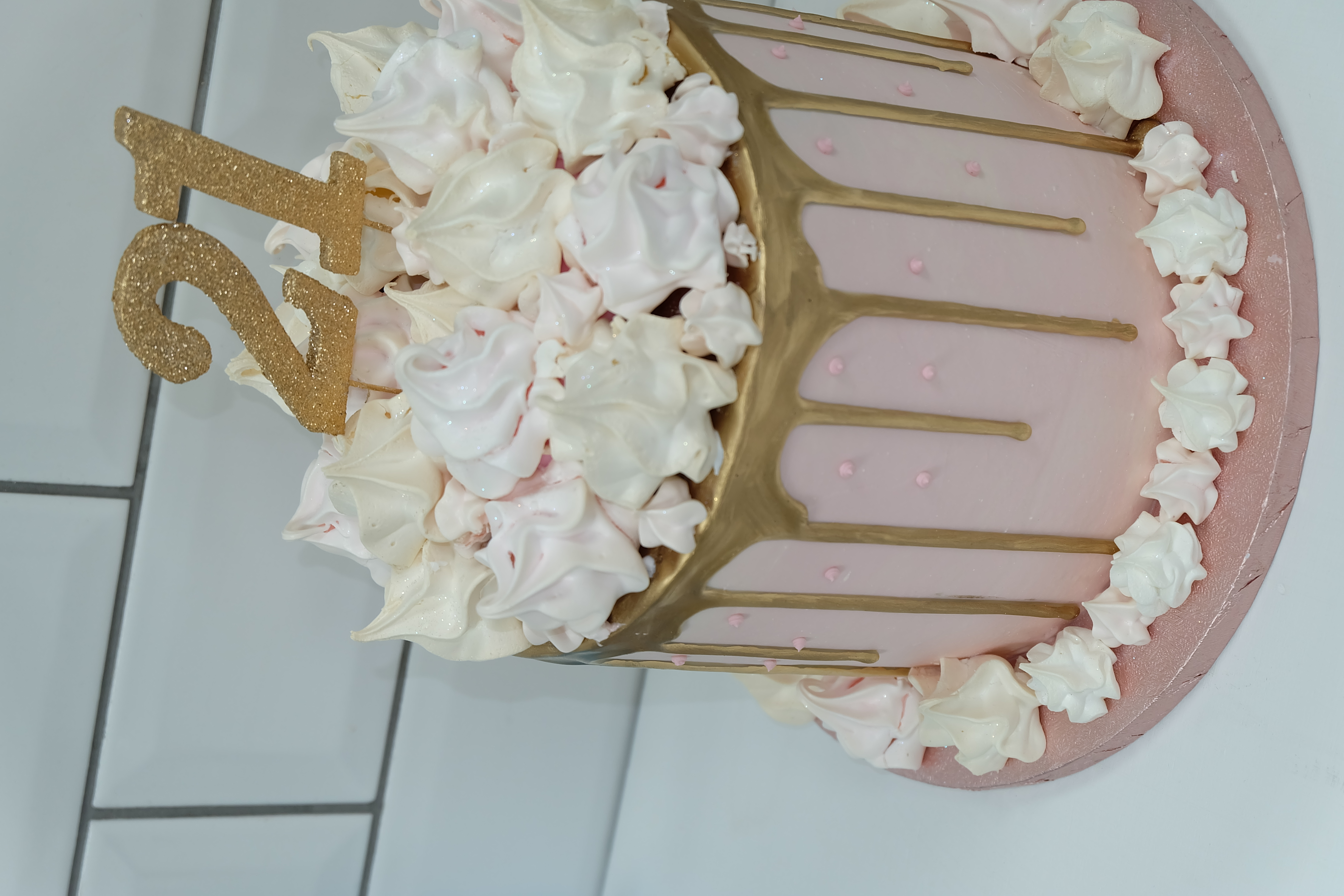 Pink Meringue Cake with Gold Drips