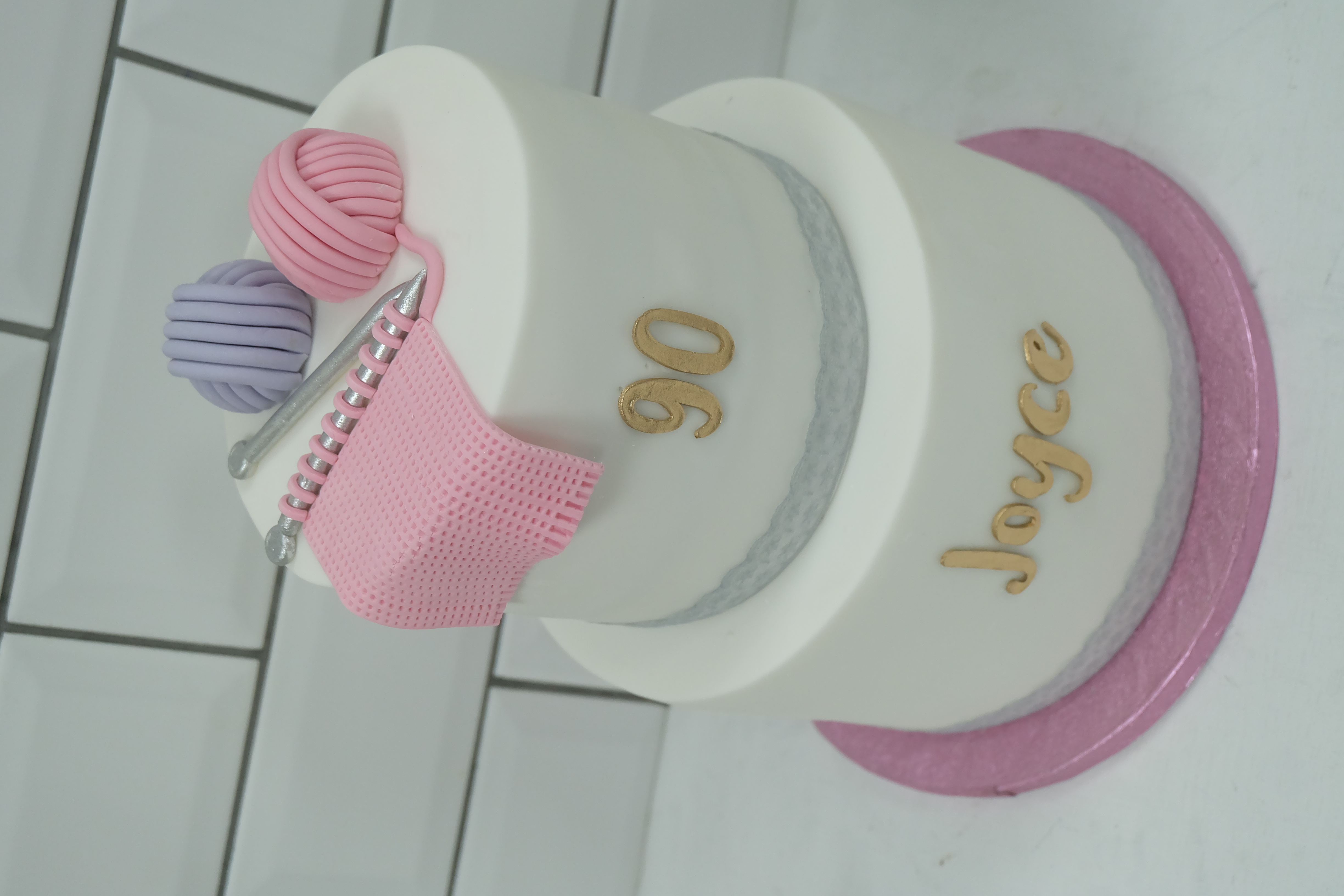 2 Tier Knitting Birthday Cake  3