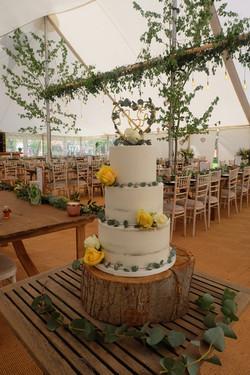 Semi Naked Wedding Cake with Eucalyptus