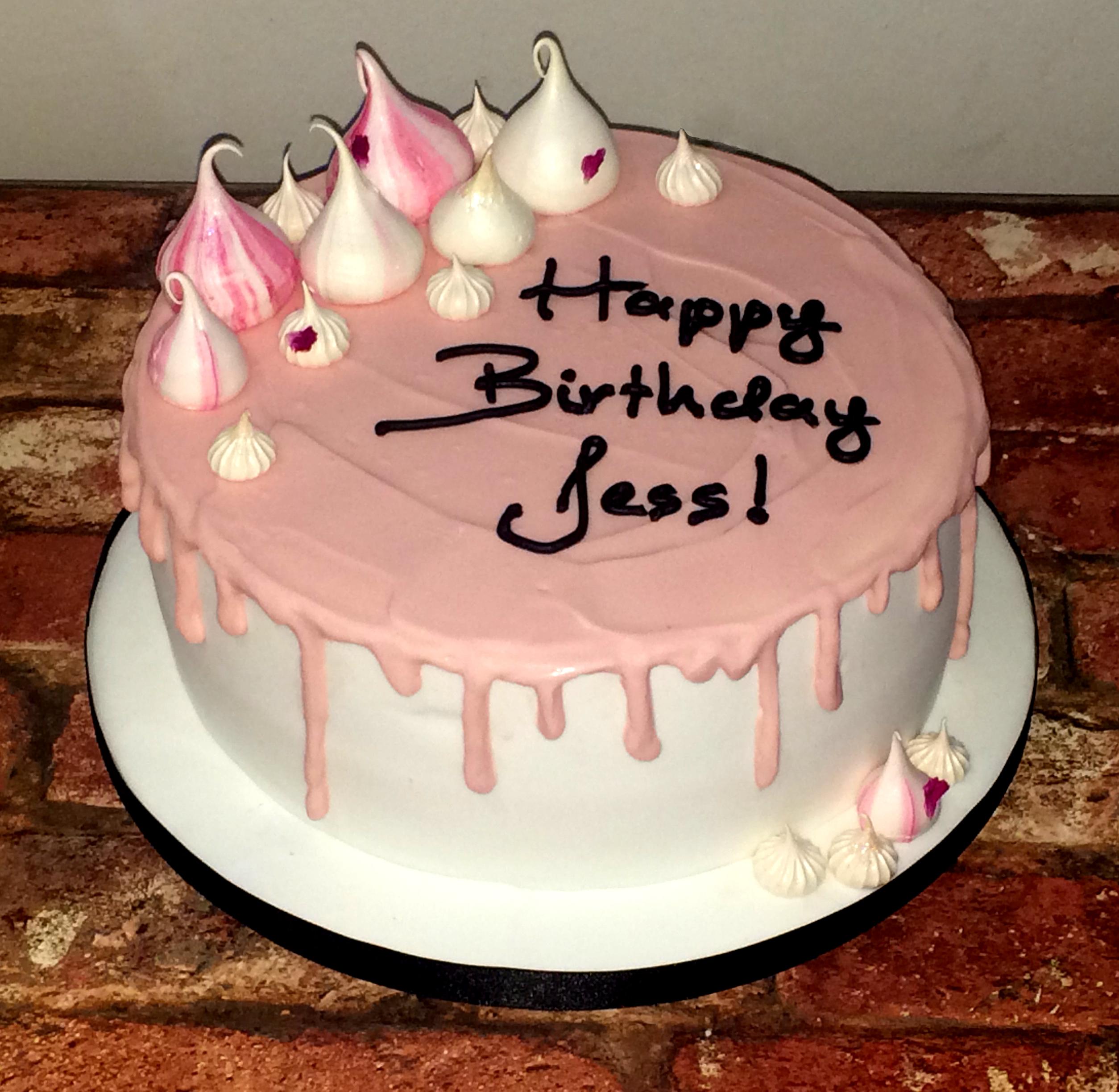 pink meringue drip cake