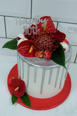 Japanese Theme Silver Drip Cake with Red