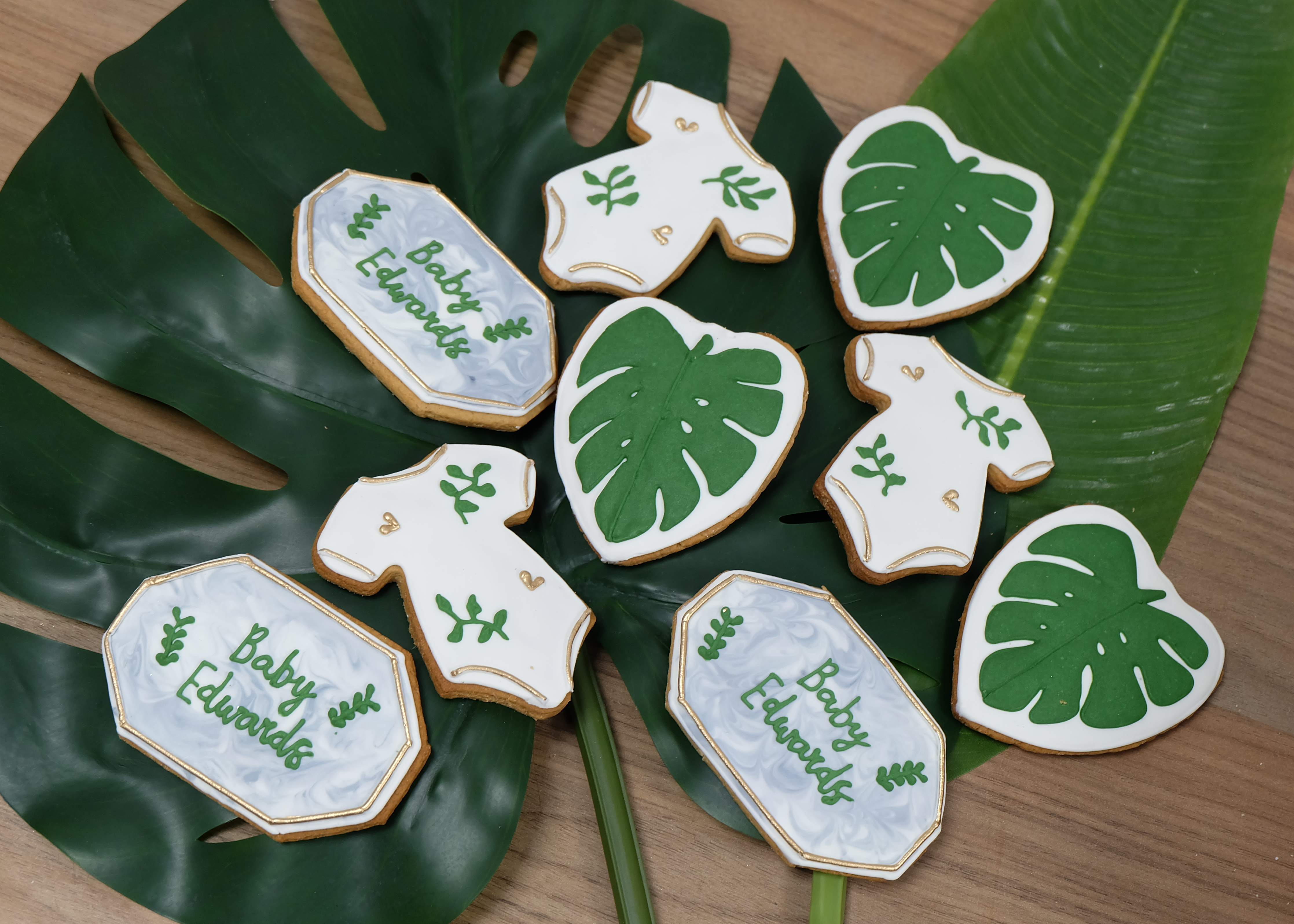 Botanical Baby Shower Biscuits