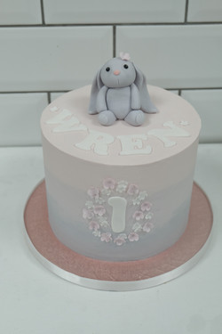 First Birthday Pink Ombre Bunny Cake