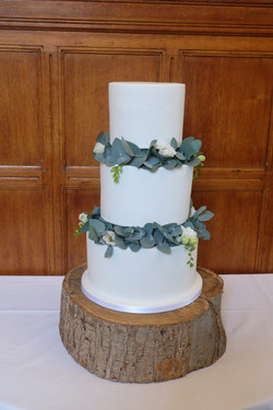 Simple 3 Tiered White Wedding Cake with