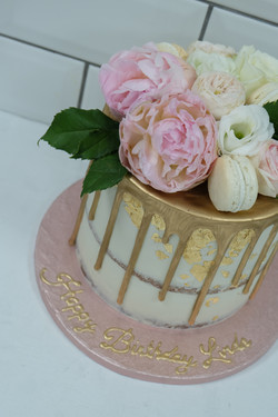 Semi Naked Gold Drip Cake with Peonies,