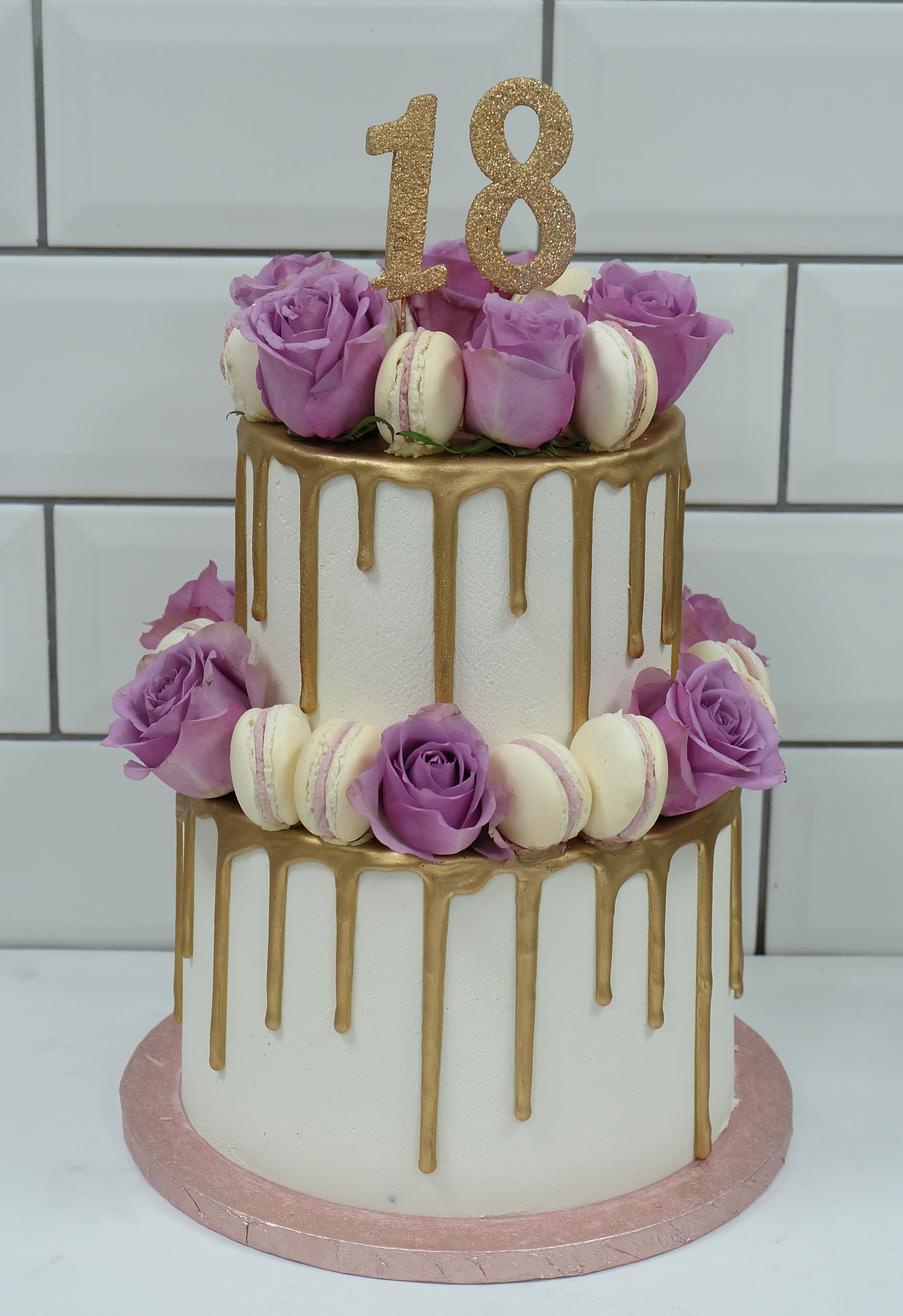 Two Tier Lilac Rose and Macaron Gold Dri