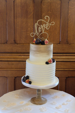 Two Tier Brushed Gold Buttercream Weddin