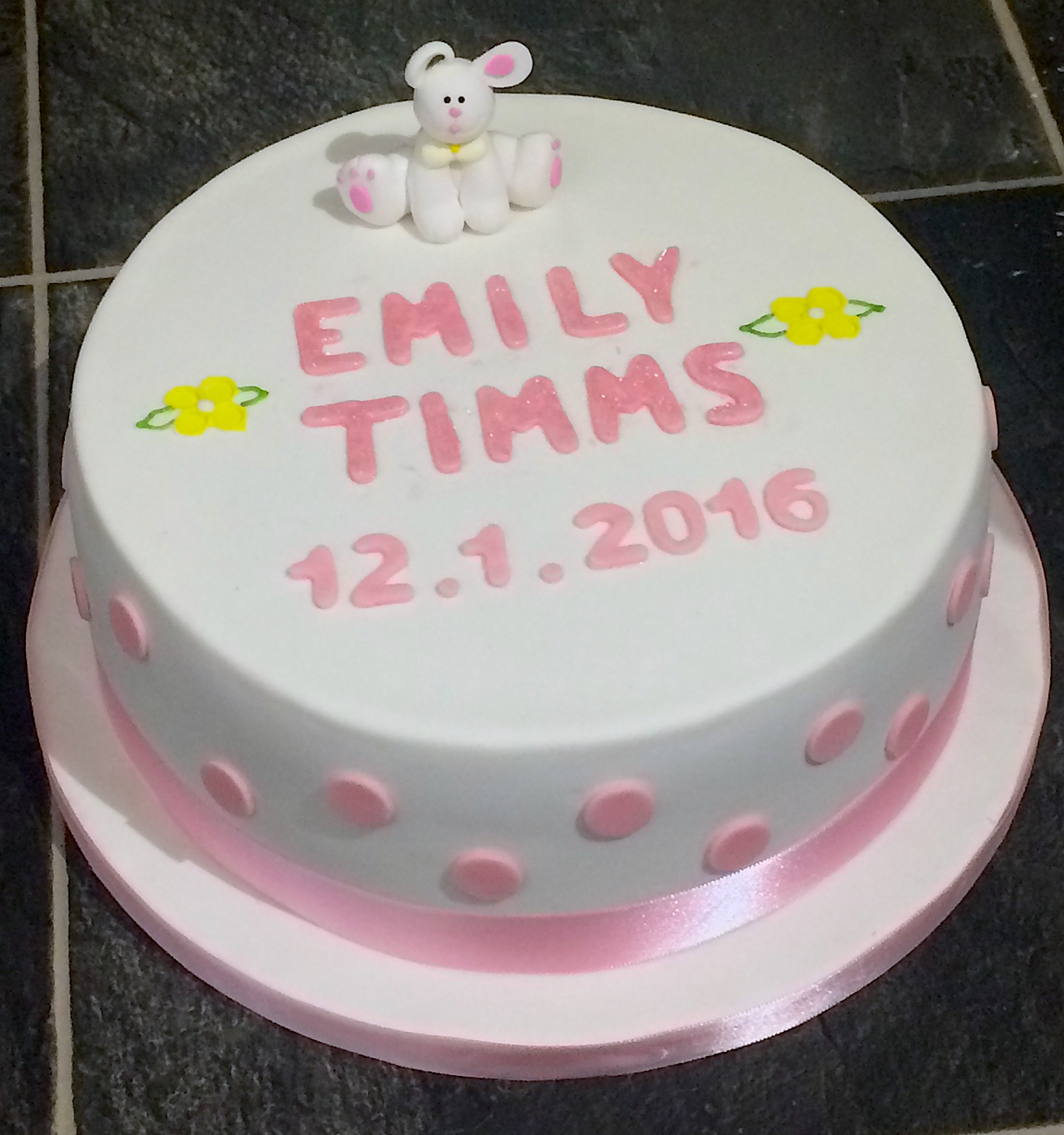 Pink Bunny Christening Cake