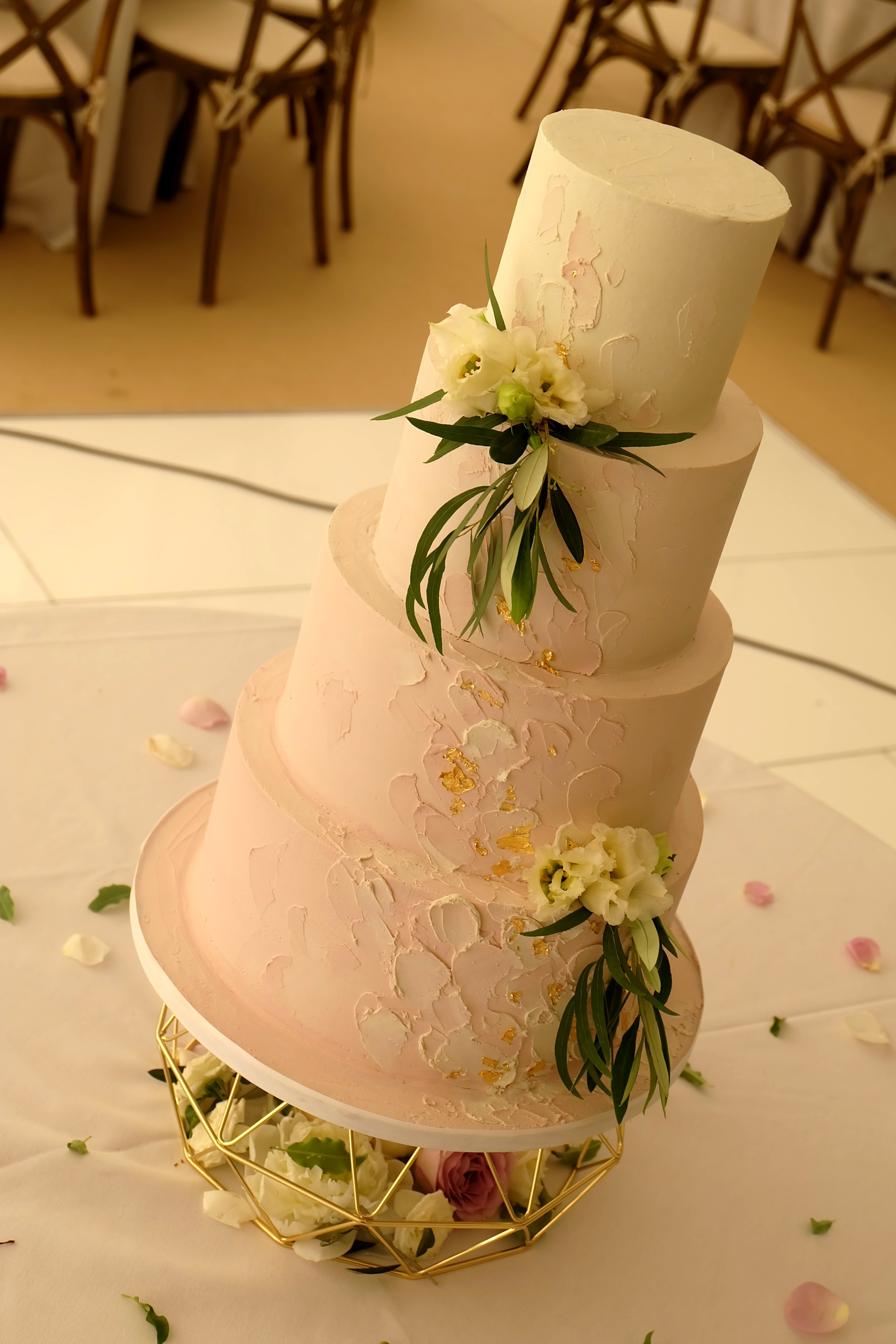 Pink and White Ombre 4 Tier Wedding Cake