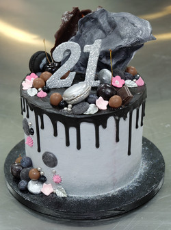 Silver Black Pink Drip Cake with Choc Sail