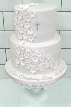 Light Pink Sugar Flower Christening Cake