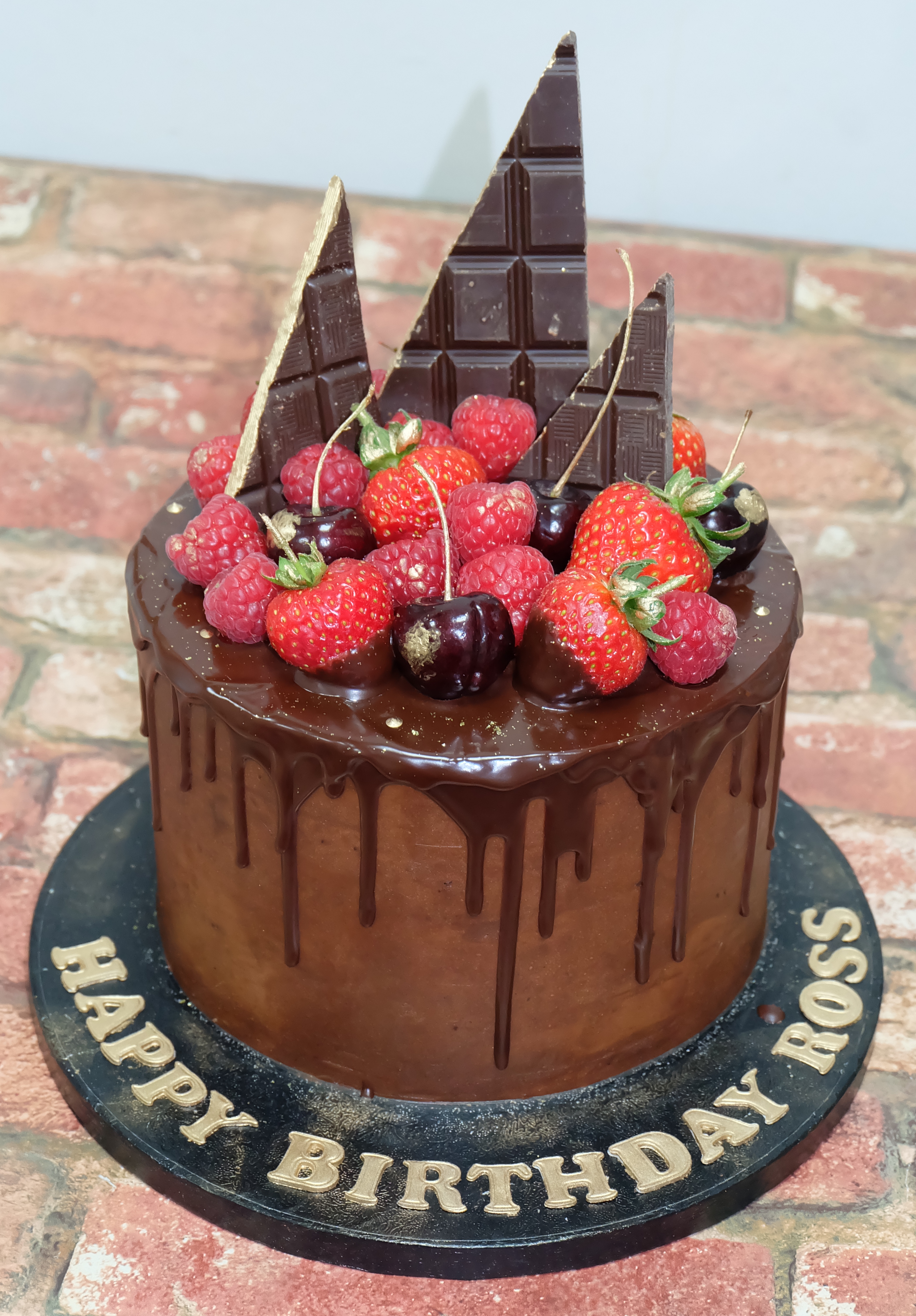 Chocolate Drip Cake with Chocolate Shards, Fresh Fruit & Gold Detail