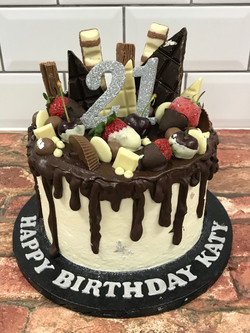Mega Chocolate and Fruit Drip Cake
