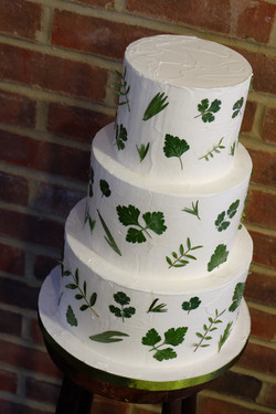 Edible Pressed Foliage Wedding Cake