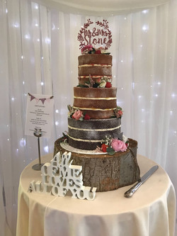 Three Tier Semi Naked Cake with Pink Top