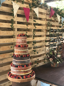 Four Tier Naked Cake With Fruits