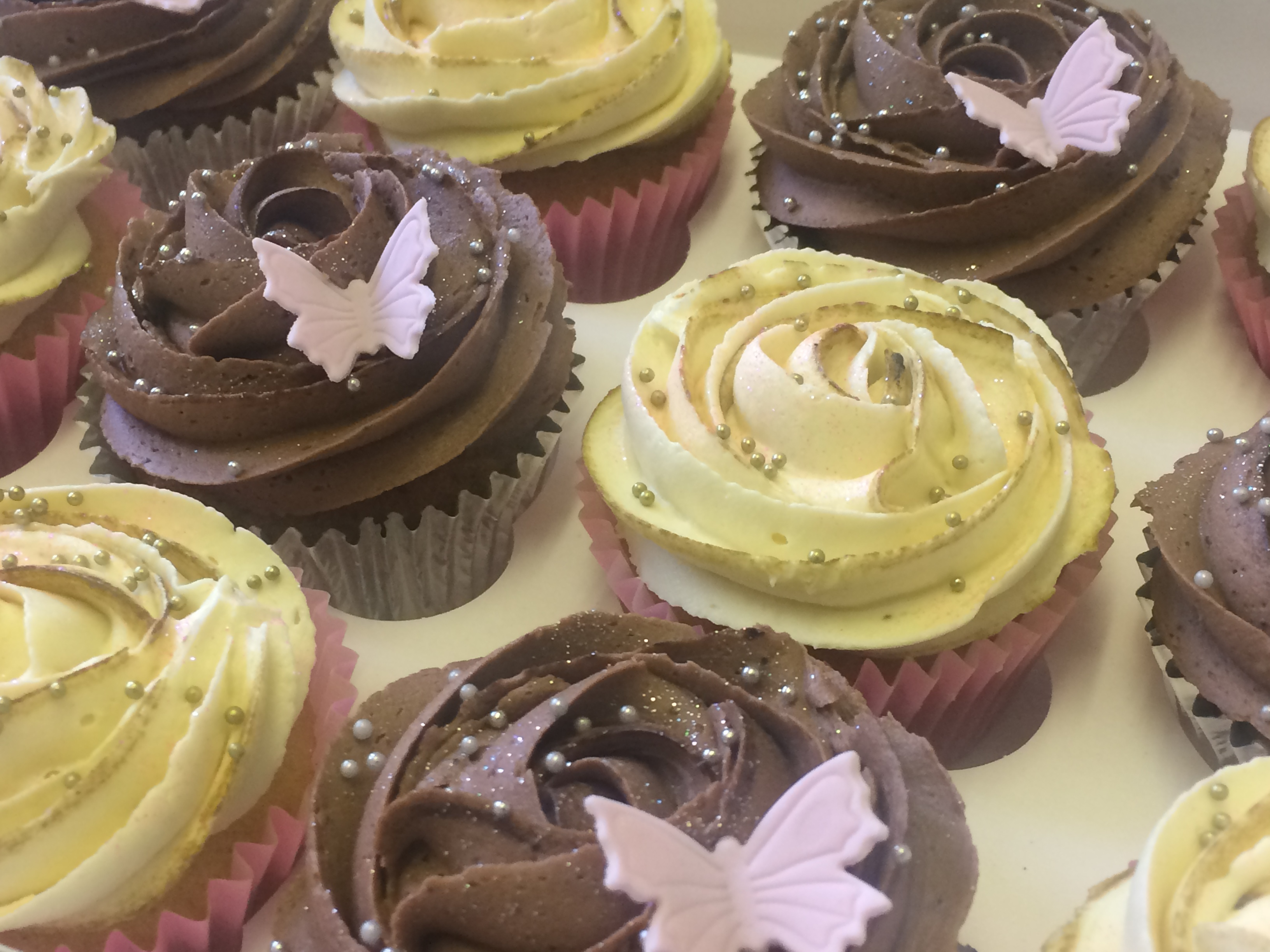 Milk and White Chocolate Butterfly Cupcakes