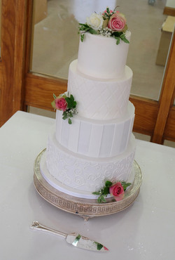 Four Tier Classic White Patterned Weddin