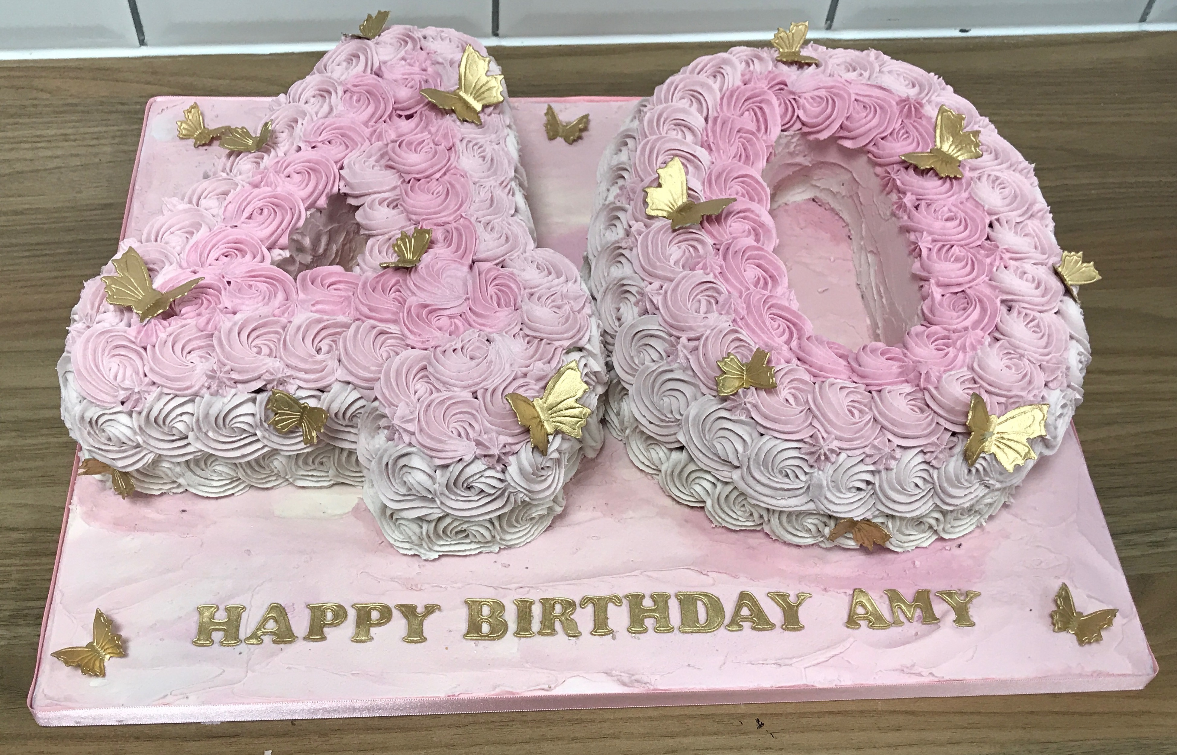 40 Buttercream Roses and Gold Butterflies