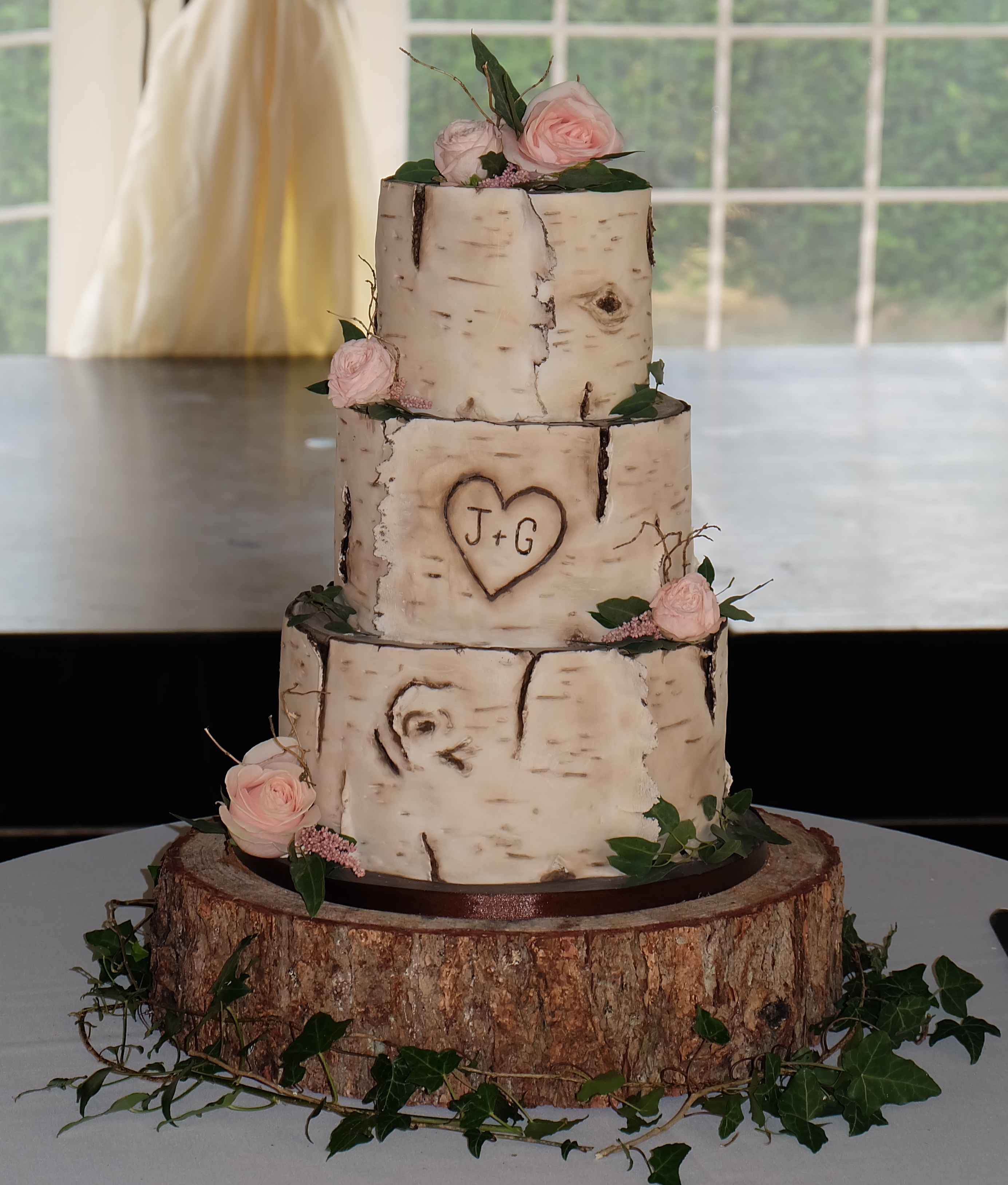 Birch Bark Wedding Cake with Roses and F