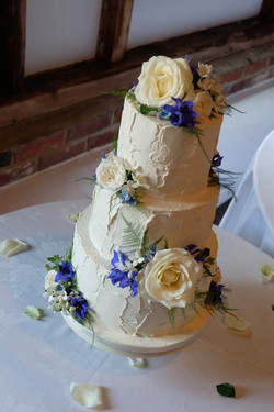 Rustic Buttercream Wedding Cake with Cre
