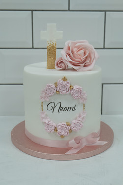 Pink Sugar Rose Christening Cake