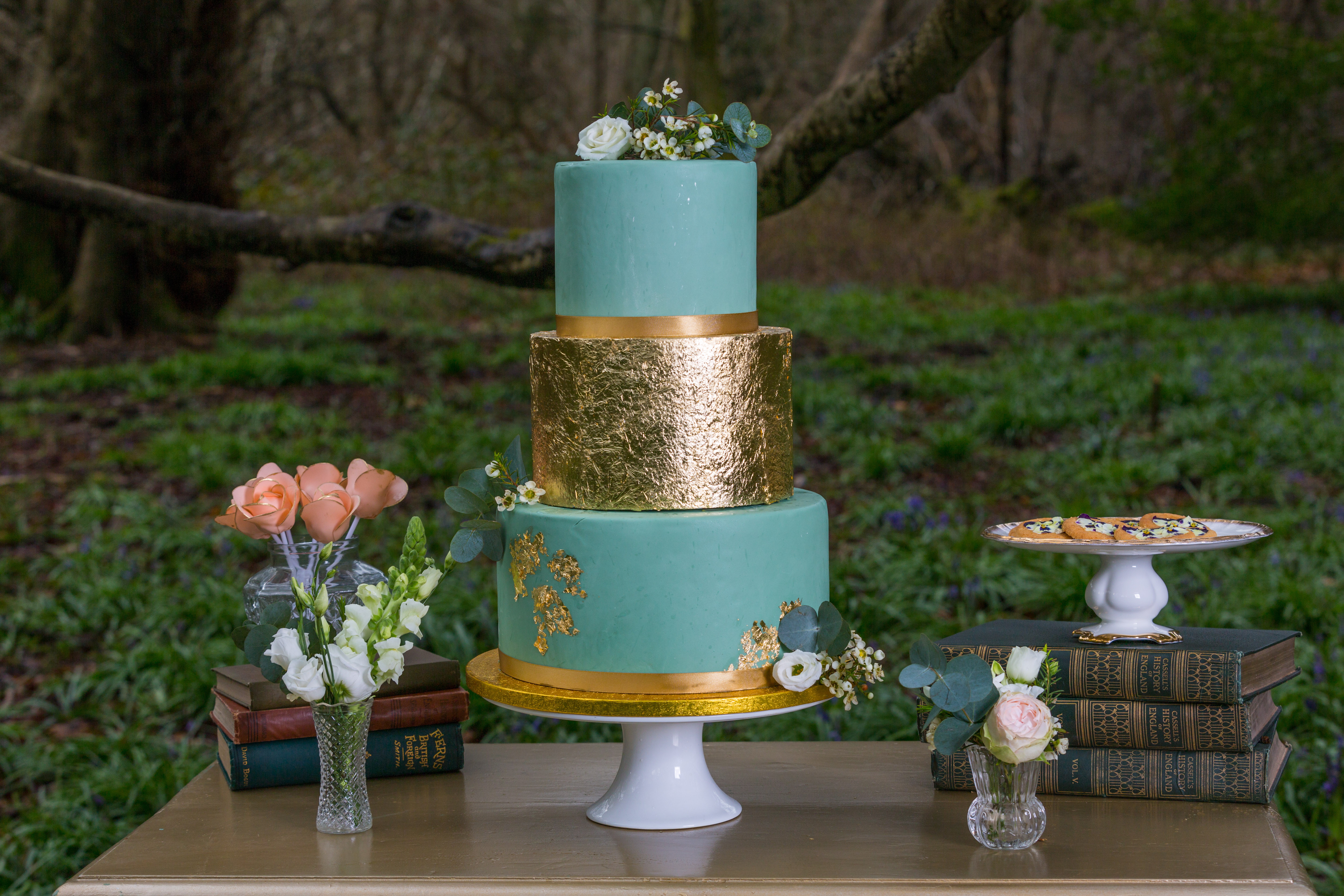 Gold Leaf and Turquoise Wedding Cake